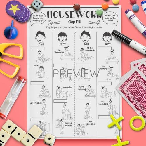 ESL English Housework Gap Fill Game Activity Worksheet