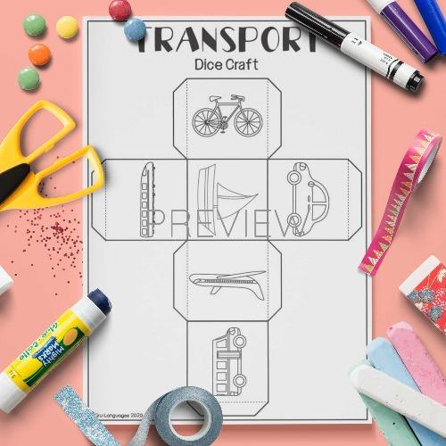 ESL English Transport Dice Craft Activity Worksheet