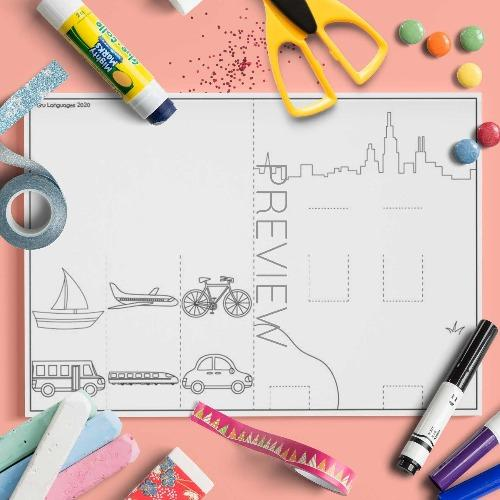 ESL English Transport Pop Up Scene Craft Activity Worksheet