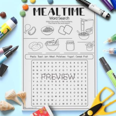 ESL English Food Mealtimes Word Search Activity Worksheet