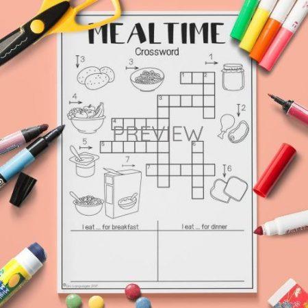 ESL English Food Mealtimes Crossword Activity Worksheet