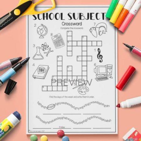 ESL English School Subjects Crossword Activity Worksheet
