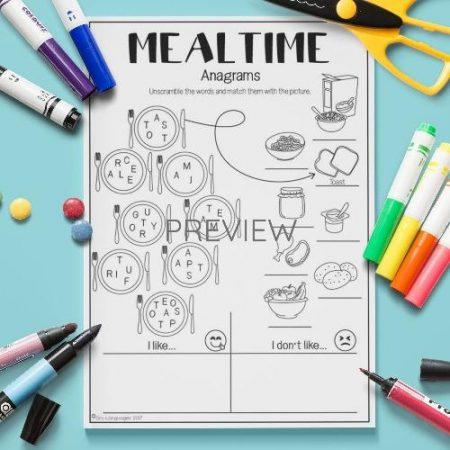 ESL English Food Mealtimes Anagrams Activity Worksheet