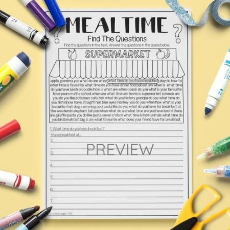 ESL English Food Mealtimes Find The Questions Activity Worksheet
