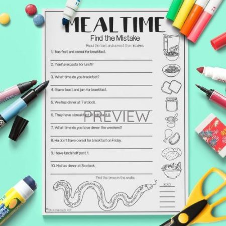 ESL English Food Mealtimes Find The Mistake Activity Worksheet