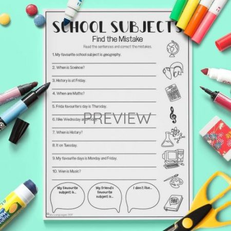 ESL English School Subjects Find The Mistake Activity Worksheet