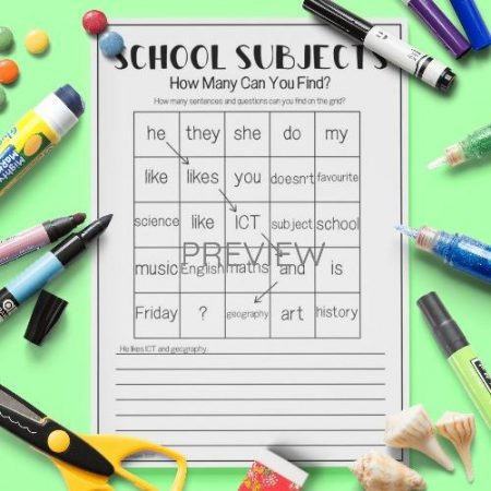 ESL English School Subjects Word Grid Activity Worksheet