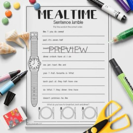 ESL English Food Mealtimes Sentence Jumble Activity Worksheet