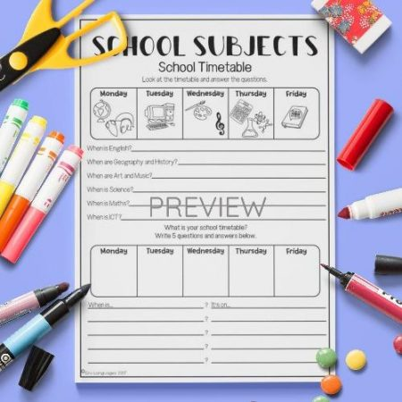 ESL English School Subjects Timetable Activity Worksheet