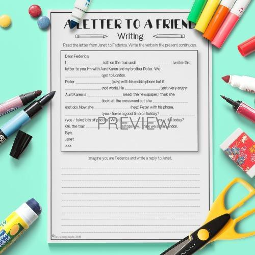 ESL English A Letter To A Friend Activity Worksheet