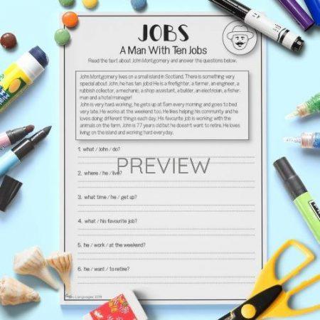 ESL English Jobs Reading Activity Worksheet