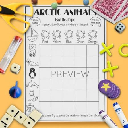 ESL English Arctic Animals Battleships Game Activity Worksheet