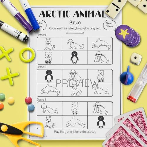 ESL English Arctic Animals Bingo Game Activity Worksheet
