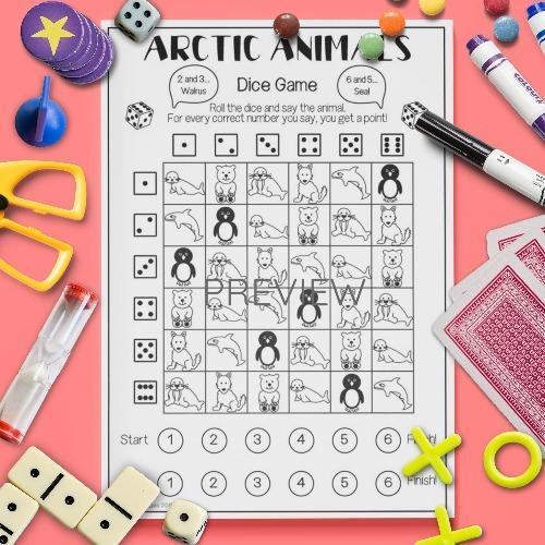 ESL English Arctic Animals Dice Game Activity Worksheet