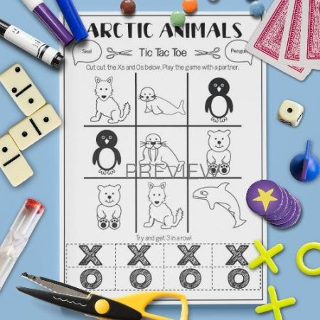 ESL English Arctic Animals Tic Tac Toe Game Activity Worksheet