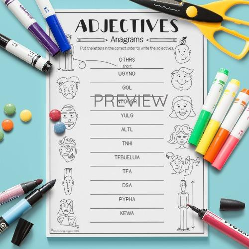 ESL English Adjectives Anagrams Activity Worksheet