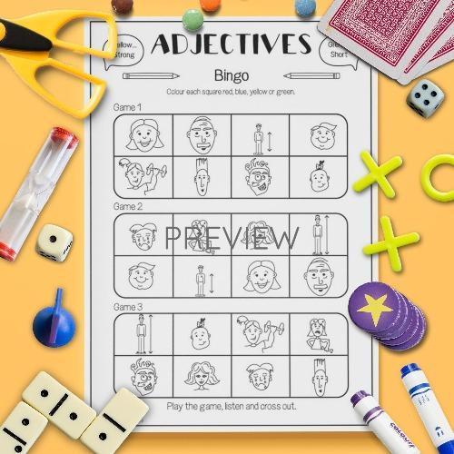 ESL English Adjectives Bingo Game Activity Worksheet