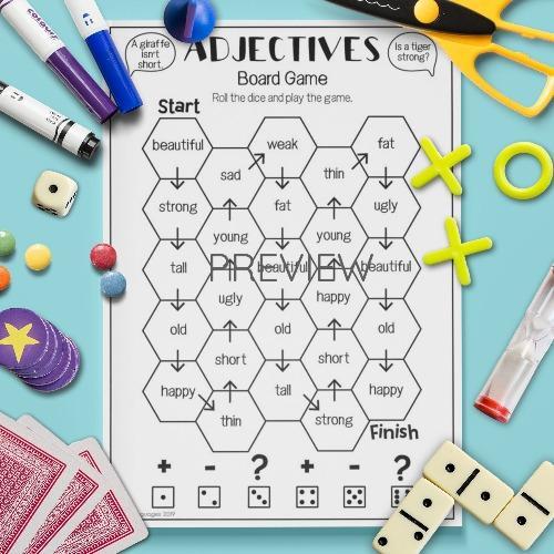 ESL English Adjectives Board Game Activity Worksheet