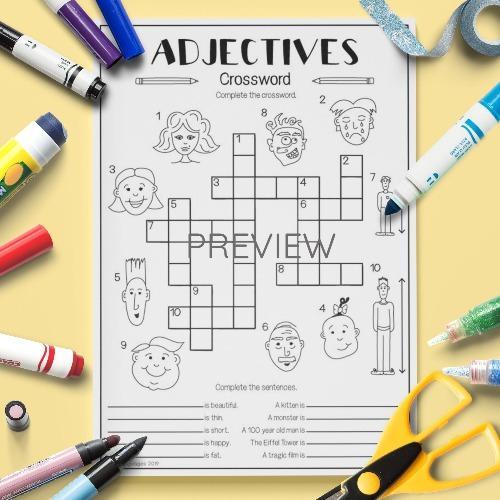 ESL English Adjectives Crossword Activity Worksheet