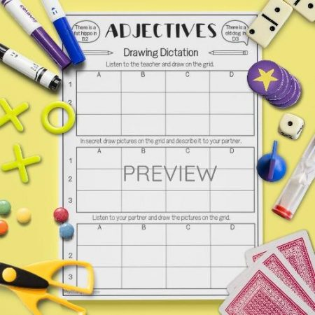 ESL English Adjectives Drawing Dictation Game Activity Worksheet