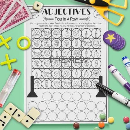 ESL English Adjectives Four In A Row Game Activity Worksheet