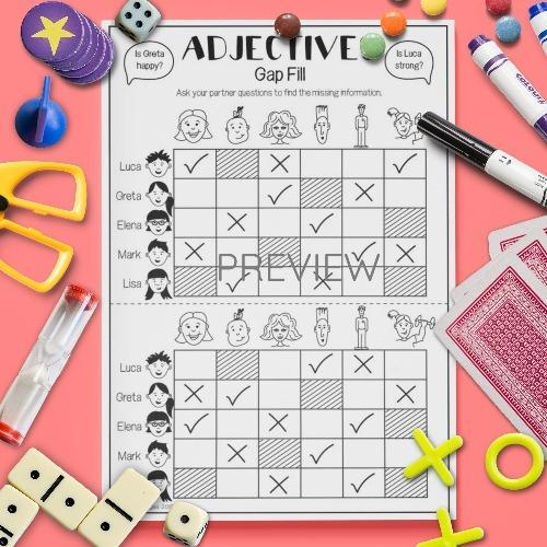 ESL English Adjectives Gap Fill Game Activity Worksheet