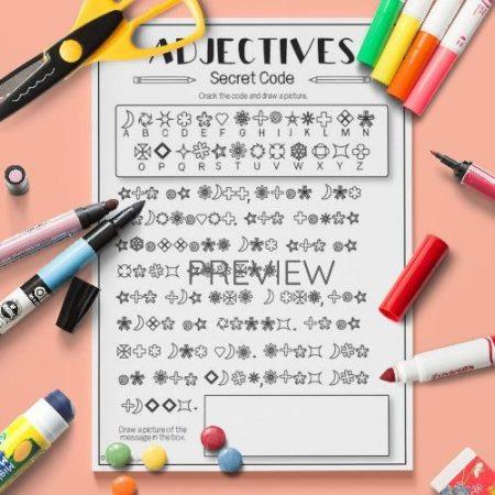ESL English Adjectives Secret Code Activity Worksheet