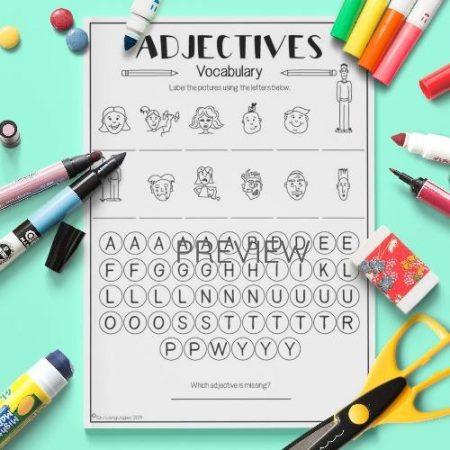 ESL English Adjectives Vocabulary Activity Worksheet