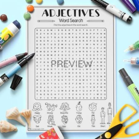 ESL English Adjectives Word Search Activity Worksheet