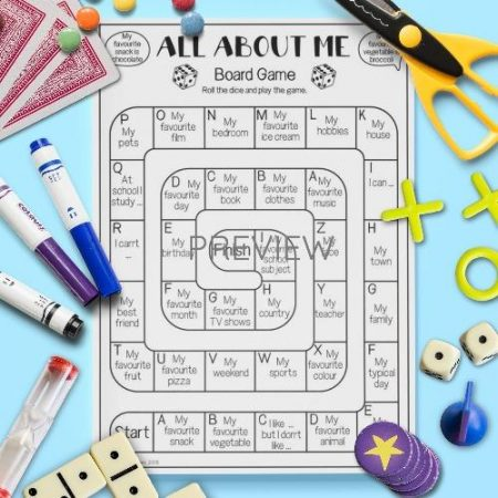 ESL English About Me Board Game Activity Worksheet