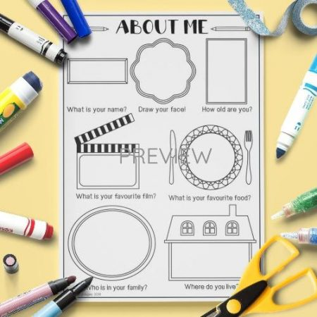 ESL English About Me Drawing Activity Worksheet