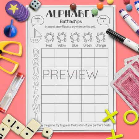 ESL English Alphabet Battleships Game Activity Worksheet