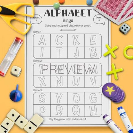 ESL English Alphabet Bingo Game Activity Worksheet