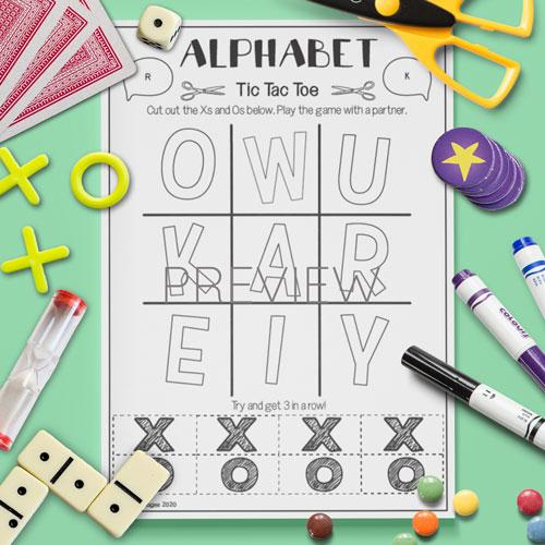 ESL English Alphabet Tic Tac Toe Game Activity Worksheet