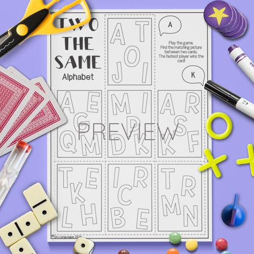 ESL English Alphabet Two The Same Card Game Activity Worksheet