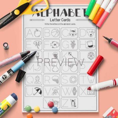 ESL English Alphabet Letter Cards Activity Worksheet