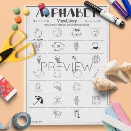 ESL English Alphabet Vocabulary Activity Worksheet