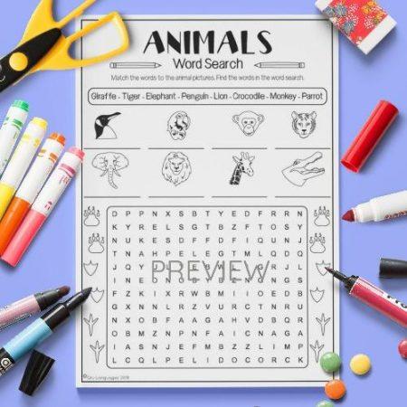 ESL English Animals Word Search Activity Worksheet