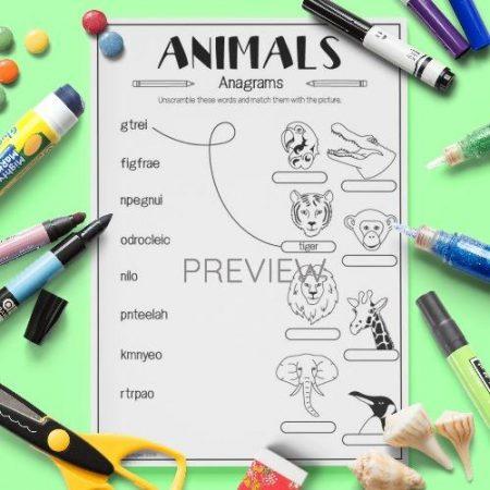 ESL English Animals Anagrams Activity Worksheet