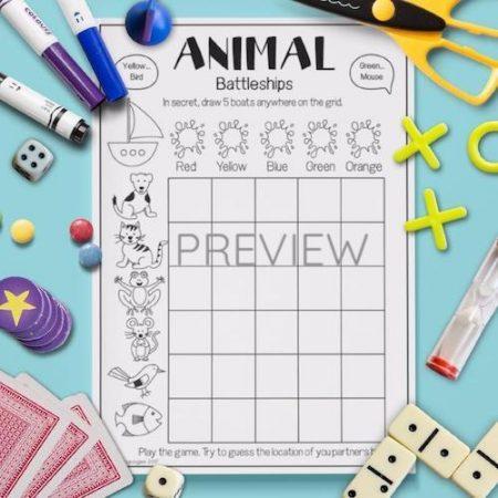 ESL English Animals Battleships Game Activity Worksheet