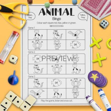 ESL English Animals Bingo Game Activity Worksheet