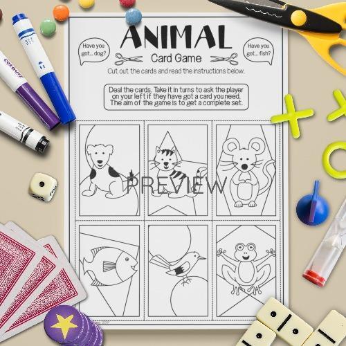 ESL English Animals Card Game Activity Worksheet