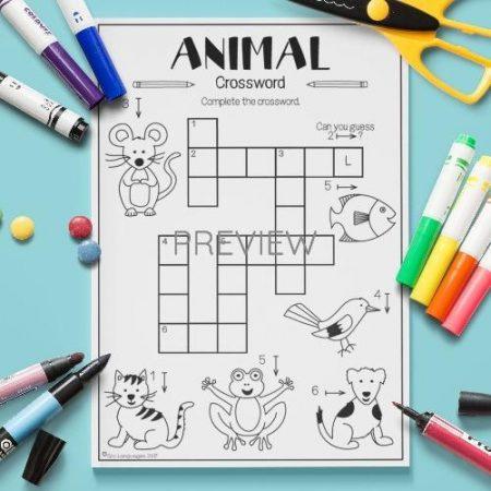 ESL English Animals Crossword Activity Worksheet