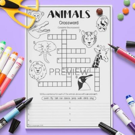 ESL English Wild Animals Crossword Activity Worksheet
