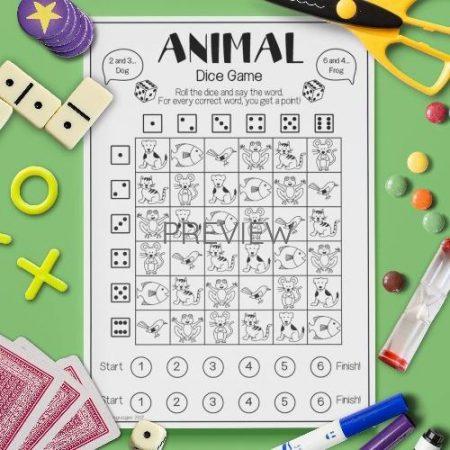 ESL English Animals Dice Game Activity Worksheet