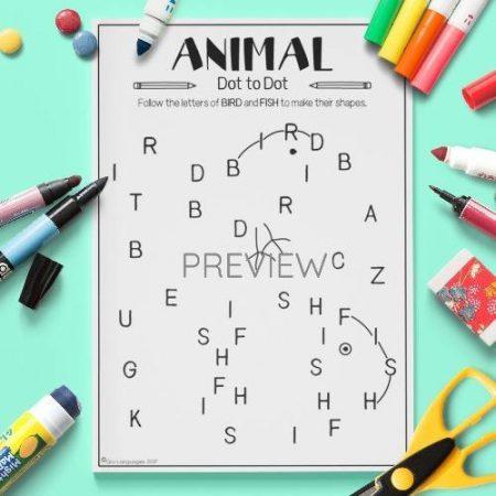 ESL English Animals Dot To Dot Activity Worksheet
