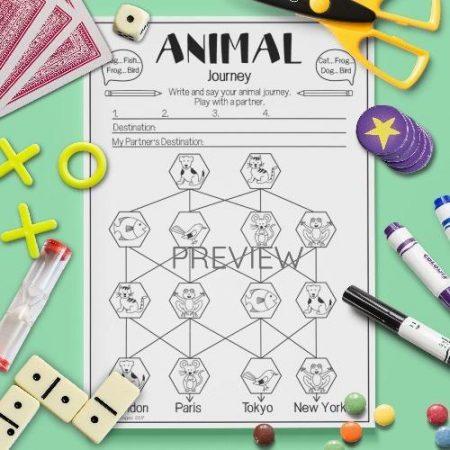 ESL English Animals Pronunciation Journey Activity Worksheet
