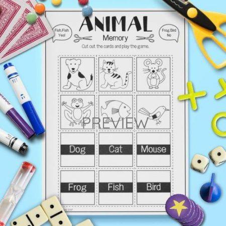ESL English Animals Memory Game Activity Worksheet