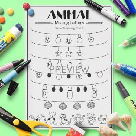 ESL English Animals Missing Letters Activity Worksheet