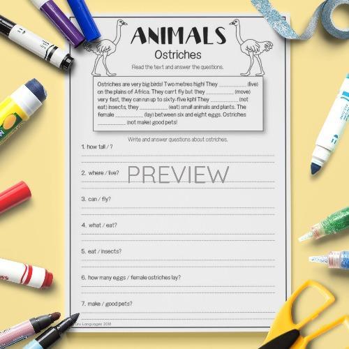 ESL English Animals Gap Fill Activity Worksheet